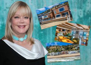 Candy Spelling and her home on 21500 block of Pacific Coast Highway (Credit: Getty Images, Redfin)