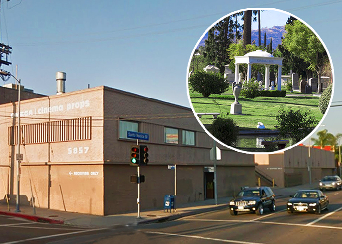 The former Omega Cinema Props warehouse on Santa Monica Boulevard and the Hollywood Forever Cemetery (Credit: Google Maps, Hollywood Forever)