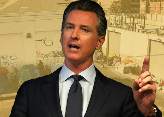 "Governor Gavin Newsom calls CA homelessness ""a disgrace"" (Credit: Getty Images)"