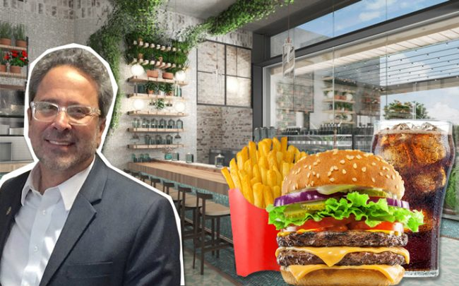 Richard Bloom and a rendering of Lowell Farms Cannabis Cafe (Credit: Lowell Farms, iStock)