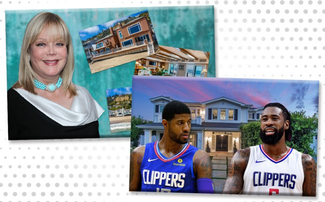 From left: Candy Spelling and her home on 21500 block of Pacific Coast Highway, and The home on Amalfi Drive with Paul George, and Deandre Jordan (Credit: Getty Images,Redfin, and Realtor)