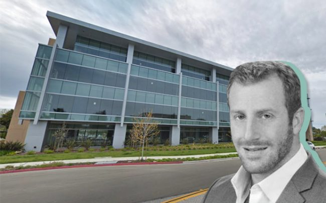 Preylock Real Estate Holdings CEO Brett Lipman and 620 National Avenue (Credit: Bisnow and Google Maps)