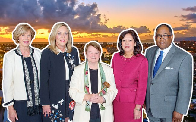 The Los Angeles County Board of Supervisors. From left: Janice Hahn, Kathryn Barger, Sheila Kuehl, Hilda L. Solis, and Mark Ridley-Thomas. (Credit: Pedro Szekely via Flickr)