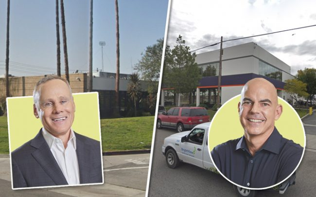 From left: Rexford Industrial co-CEOs Howard Schwimmer with 3150 E. Ana Street in Rancho Dominguez and Michael S. Frankel with 18115 S. Main Street in Carson (Credit: Google Maps)