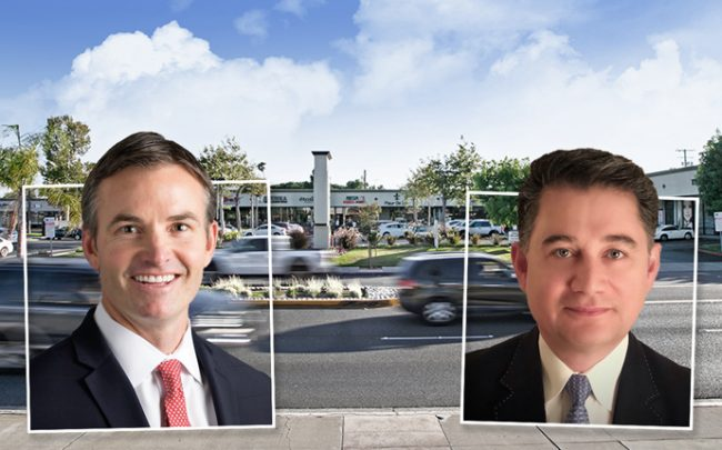 Space Investment Partners co-founders Mark Moshayedi and Ryan Gallagher with Westport Plaza (Credit: Connect California)