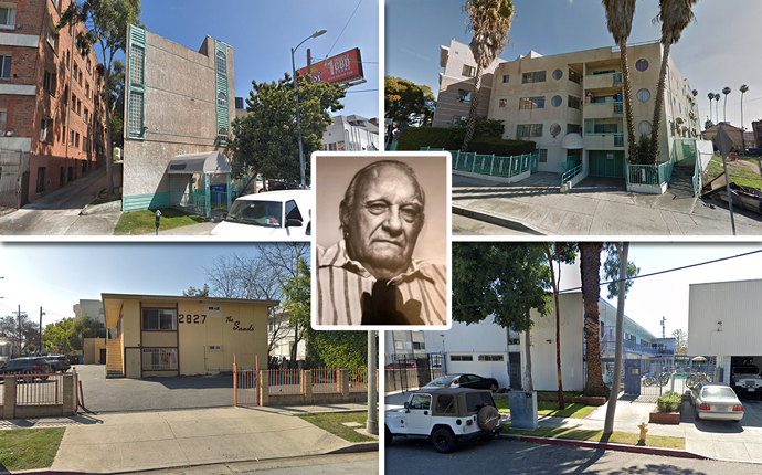 The late owner Irvin Kanthak and (From top left, clockwise) Hoover Place at 720 Hoover Street, 966 South Hoover Street, 738-742 West 27th Street, and 2823 Orchard Avenue