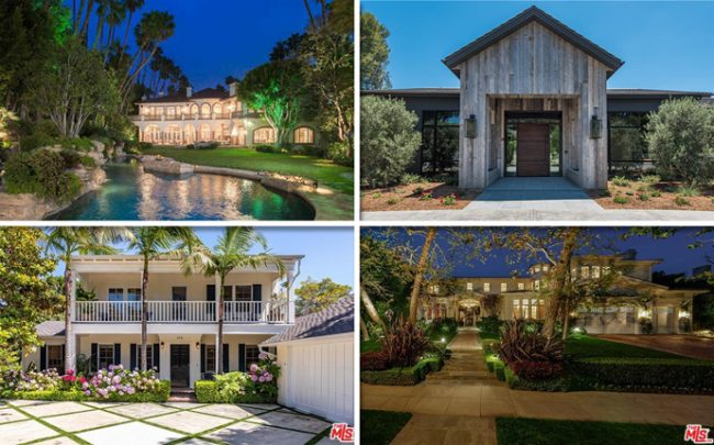 From top left, clockwise: 254 Bel Air Road, 24400 Little Valley Road, 15025 Altata Drive, and 636 Adelaide Drive (Credit: Zillow and Redfin)