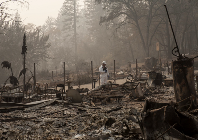 The wreckage after last year's deadly Camp Fire in the town of Paradise. (Credit: California National Guard)