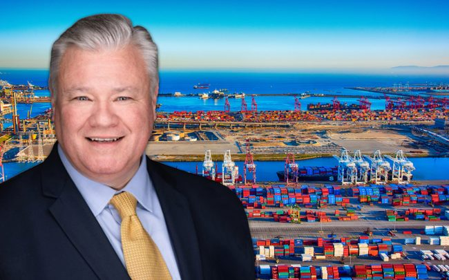 NAI Capital Vice President of Research, Marketing, and Communications J.C. Casillas and the Port of Los Angeles (Credit: iStock)