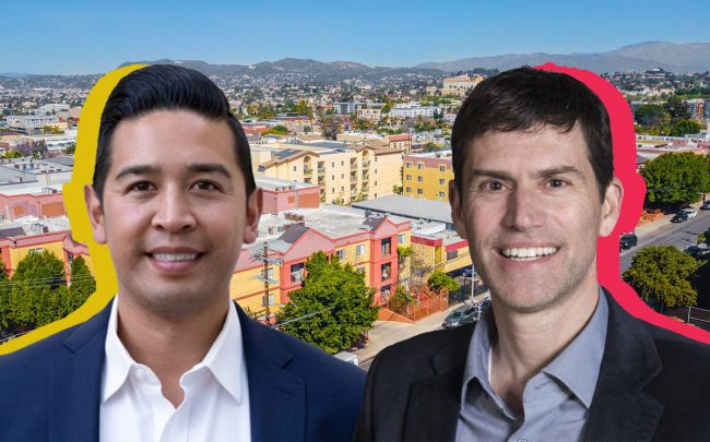 29th Street Capital founder Stan Beraznik, Jason de Guzman, the firm's senior vice president for acquisitions for L.A., and the three buildings at 131, 143, and 171 S. Burlington Avenue