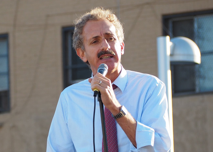LA City Attorney Mike Feuer at a rally in South LA last year