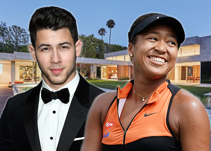 From left: Nick Jonas and Naomi Osaka with the home (Credit: Getty Images and Realtor)