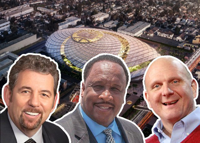 James Dolan, James T. Butts, Steve Ballmer, and a rendering of the proposed Clippers Arena