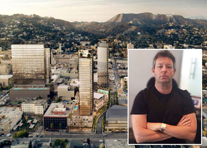 A rendering of Harridge's vision for the Crossroads of Hollywood mixed-use project and Harridge Development CEO David Schwartzman(Credit: Crossroads Hollywood)