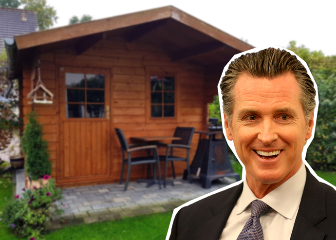 Gavin Newsom signed bills to facilitate backyard home construction.