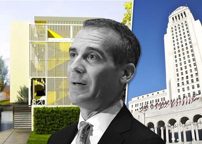 A rendering of FlyAwayHomes' HHH project in South LA and Mayor Eric Garcetti, who led the push to approve Prop HHH.