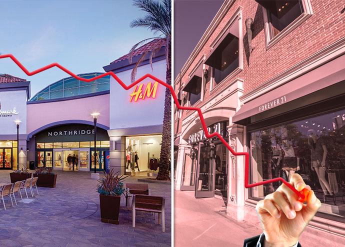 From left: A San Fernando Valley retail center and a Forever 21 near downtown LA (Credit: iStock)