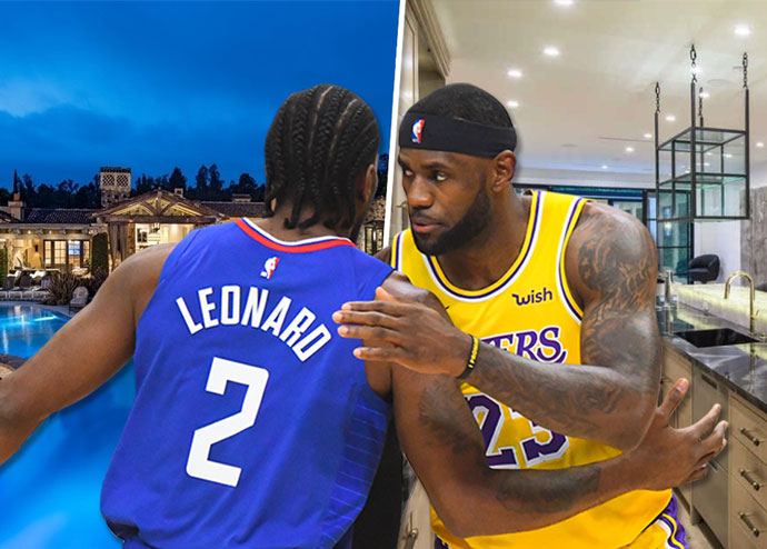 Kawhi Leonard and LeBron James with their California homes (Credit: Getty Images and Redfin)