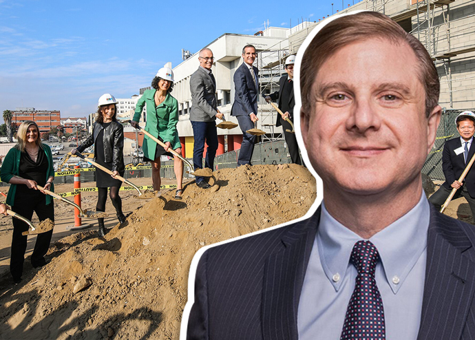 LA City Controller Ron Galperin and a groundbreaking ceremony for the first development funded by Prop HHH in December 2017 (credit: Office of Mayor Eric Garcetti)
