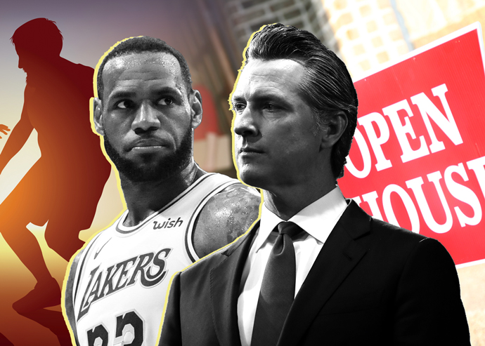 LeBron James and California Governor Gavin Newsom (Credit: Getty Images and iStock)