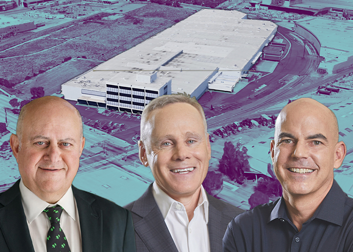 6277 E. Slauson Avenue, and from left: Prologis CEO Hamid Moghadam and Rexford Industrial co-CEOs Howard Schwimmer and Michael Frankel (Credit: Google Maps)