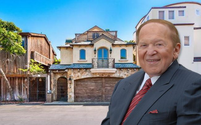 Sheldon Adelson and his new property flanked by two of his other homes (Credit: Getty Images)