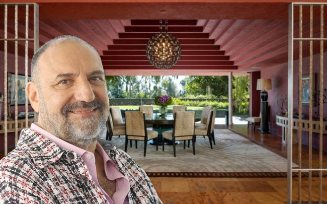 Joel Silver and the dining room in the Brentwood home (Credit: Getty Images)