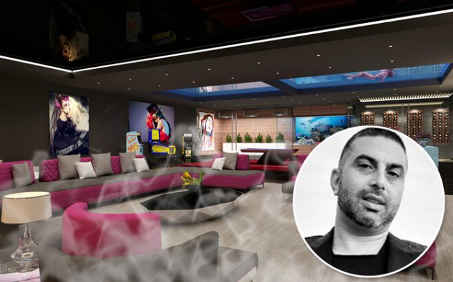 Ramtin Ray Nosrati and a rendering of a cannabis lounge at one of his properties (credit: Huntington Estate Properties)