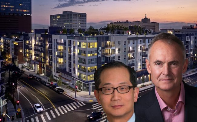 Carlyle Group co-CEO Kewsong Lee, Holland Partner Group CEO Clyde Holland, and the Sofia Los Angeles (credit: North American Sekisui House, LLC)