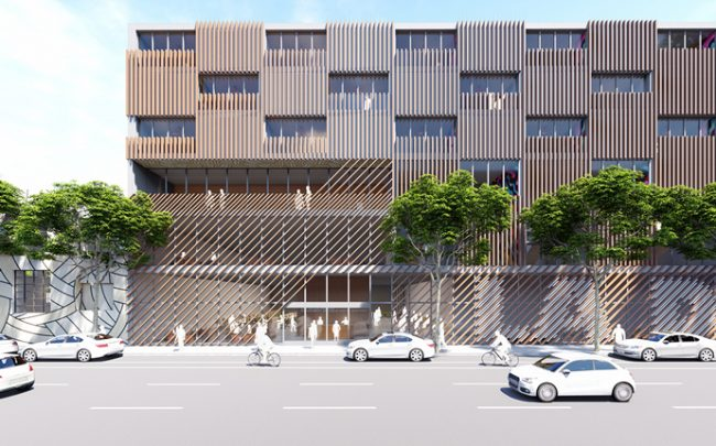 A rendering of the 4th and Hewitt mixed-use project in the Arts Distric (Credit: OFFICEUNTITLED)