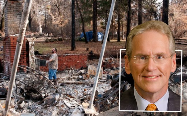 PG&E CEO William Johnson and a Camp Fire victim looking over his destroyed home (credit: U.S. Air Force)