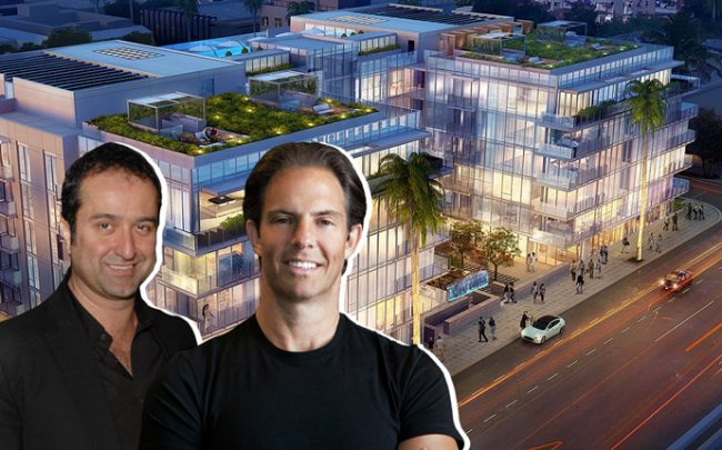 Bilgili Development's Serdar Bilgili and Michael Shvo with a rendering of 9200 Wilshire Boulevard (credit: Getty Images and MVE Architects)