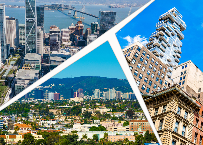 San Francisco's Rincon Hill, New York's Tribeca and Los Angeles' Westwood (clockwise from top left) are among the most expensive places to rent in the country (Credit: iStock)
