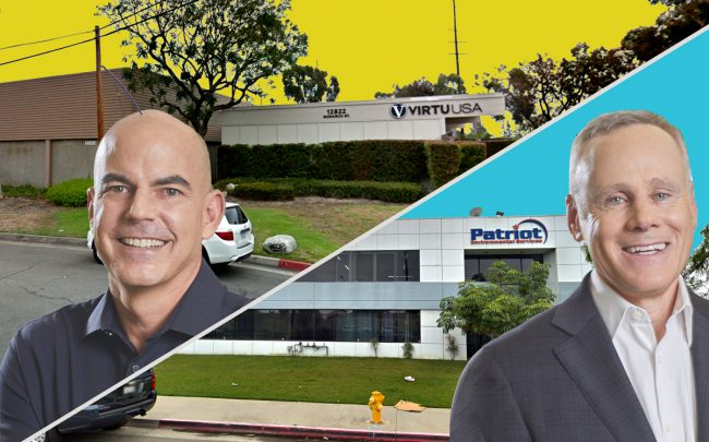 From left: Rexford co-CEO Michael Frankel, 12752-12822 Monarch St. in Garden Grove, 508 East E St. in Wilmington and Rexford co-CEO Howard Schwimmer (Credit: Google Maps)