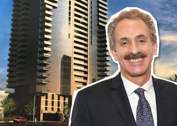 L.A. City Attorney Mike Feuer and a rendering of the Koreatown project (Credit: Getty Images)