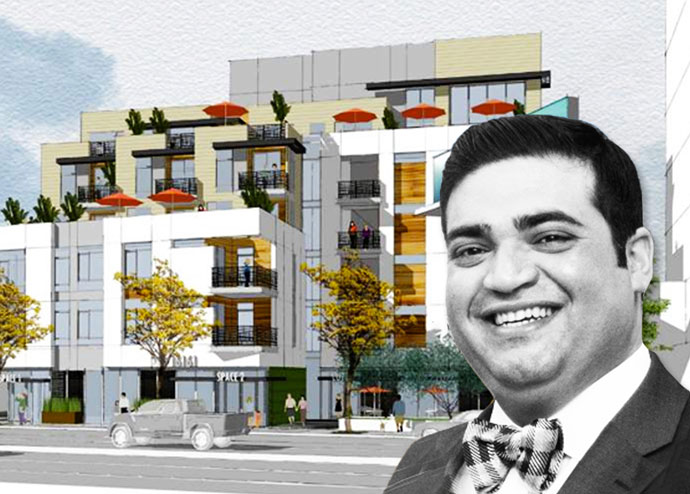 Rendering of a proposed residential building on 16161 Ventura Boulevard with Daniel Keshani (Credit: LADCP)
