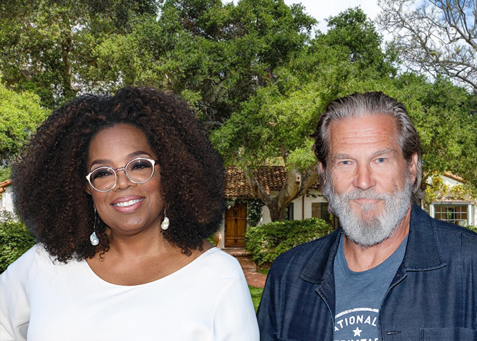 Oprah Winfrey and Jeff Bridges with the home (Credit: Getty Images and Realtor.com)