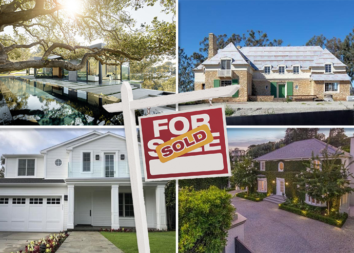 From top left, clockwise: 9601 Oak Pass Road, 915 Amalfi Drive, 915 Amalfi Drive, and 337 S Anita Avenue (Credit: Redfin)
