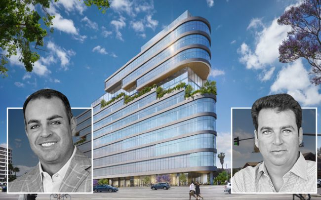 From left: Shawn Yari and Steven Yari, managing principals of Stockdale Capital Partners, with a rendering of the tower