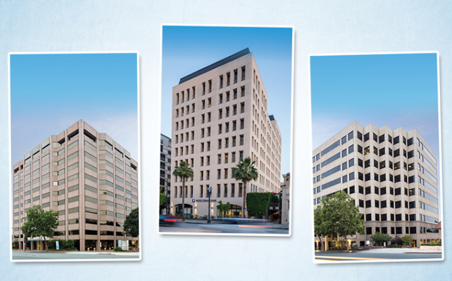 Three office buildings in the Pasadena Collection