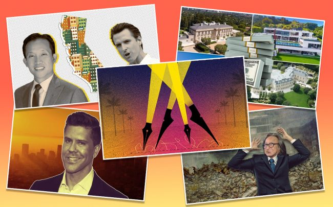 Art Caption: Clockwise from top left: Assemblyman David Chiu and Gov. Gavin Newsom pushed for a statewide rent control law, L.A. mansions that sold for combined $400+ million, developer Mohamed Hadid battled to save his Bel Air project, Frederik Eklund of Douglas Elliman moved to L.A. and (inset) streaming services gobbled up more space.