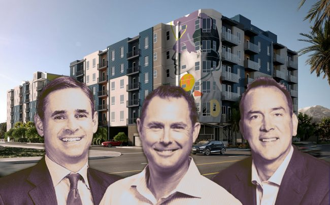 A rendering of the property, Cityview CEO Sean Burton and Virtu Investments principals Michael Green and Scott McWhorter (Credit: LCP 360)