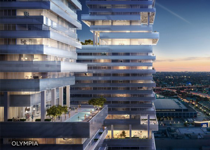 A rendering of City Century's Olympia in DTLA (Credit: Visualhouse / City Century)