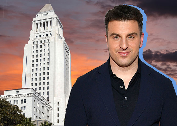 Airbnb Chief Executive Brian Chesky in front of Los Angeles city hall (Credit: Getty Images, iStock)