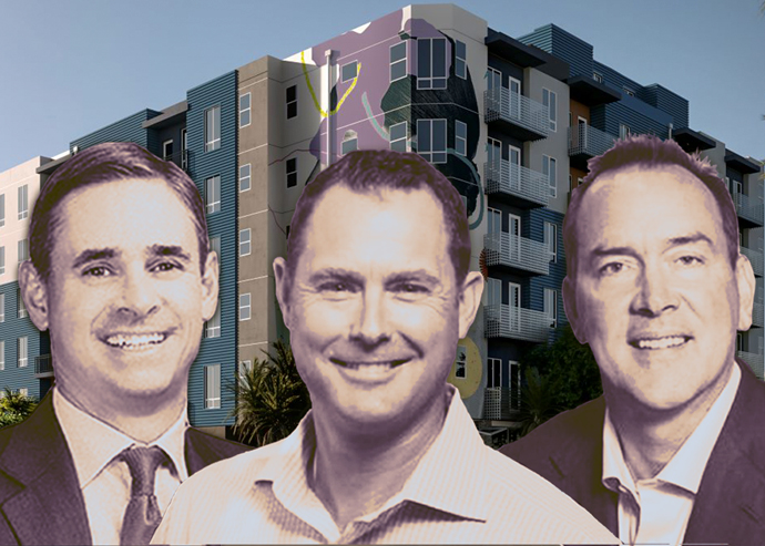 A rendering of the property,Cityview CEO Sean Burton and Virtu Investments principals Michael Green and Scott McWhorter (Credit: LCP 360)