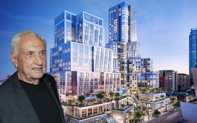 A rendering of Related's The Grand project, and Frank Gehry, who designed it. (Credit: Getty Images)
