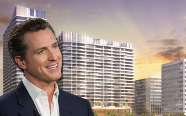 Governor Gavin Newsom and a rendering of a planned project in Koreatown