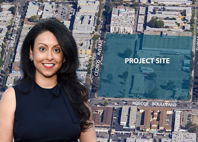 Nury Martinez and the project site (Credit: LADCP and Getty Images)