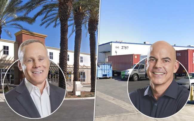 From left: Howard Schwimmer and Michael S. Frankel, with 1601 W. Mission Boulevard and 2757 E. Del Amo Boulevard (Credit: Google Maps)