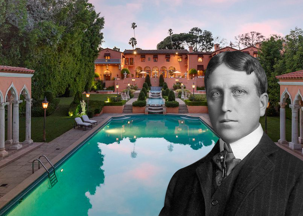 William Randolph Hearst by his former home (Credit: Getty Images and Zillow)